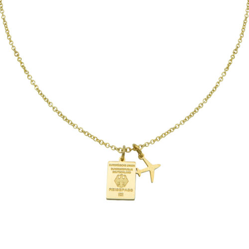 #GERMANY PASSPORT NECKLACE GOLD