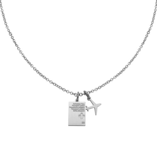 #SWITZERLAND PASSPORT NECKLACE SILVER