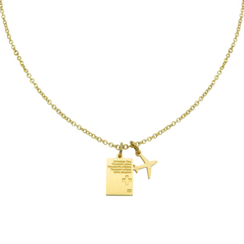 #SWITZERLAND PASSPORT NECKLACE GOLD